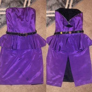 80s Vintage AJ Bari purple prom dress Sz8 & belt!
